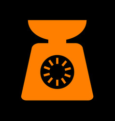 Kitchen scales sign orange icon on black vector