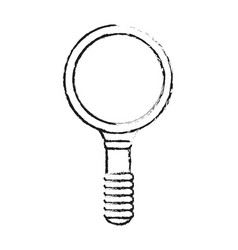 Monochrome blurred silhouette of magnifying glass vector