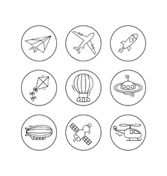 outline icon set of aircraft vector image