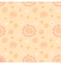 repeatable doodle floral love pattern soft peach vector image