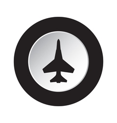 Round black and white button - fighter icon vector