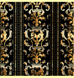Royal gold baroque seamless pattern striped vector