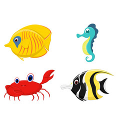 sea fish cartoon set vector image