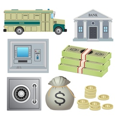 Set of bank objects vector image vector image