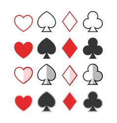 Set of hearts clubs spades and diamonds icons c vector