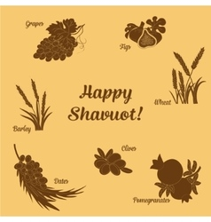 Seven species of the shavuot set with inscription vector