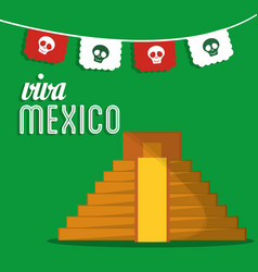 Viva mexico invitation event patriotic vector
