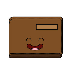 Wallet money kawaii character vector