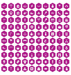 100 family tradition icons hexagon violet vector image