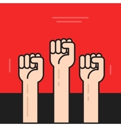 Hands with fists raised up  symbol of vector