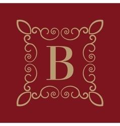 Monogram letter b calligraphic ornament gold vector