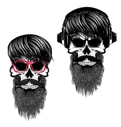 Set of hipster skulls with hairstyle sunglases vector