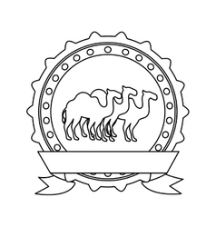 silhouette border insignia with camels and label vector image