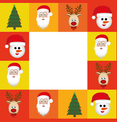 colorful square christmas frame decorative vector image