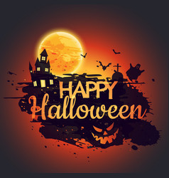 Happy halloween poster with creepy castle vector
