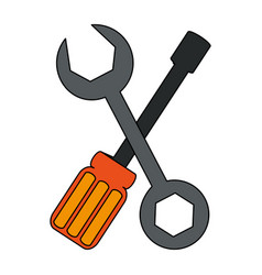 Color graphic set wrench and screwdriver vector