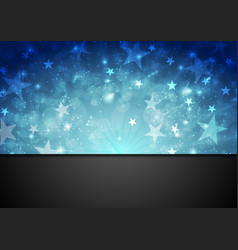 Blue shiny sparkling background with stars vector