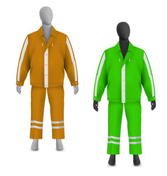 Safety jacket and pants set on mannequin vector