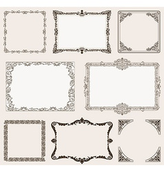 Set ornate frames and vintage scroll elements vector