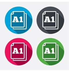 Paper size a1 standard icon document symbol vector