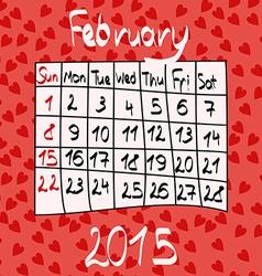 Calendar for february 2015 cartoon style hearts vector