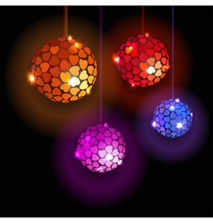 Four Disco Balls With Hearts vector image