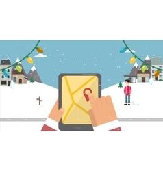 Flat background Santa with navigator vector image