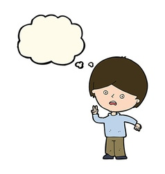 Cartoon unhappy boy giving peace sign with thought vector