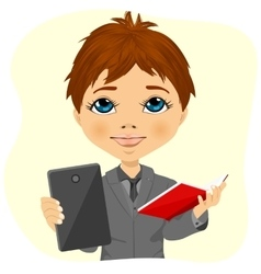 Little schoolboy choosing between tablet and books vector