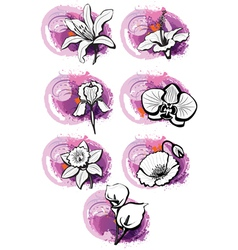 Stickers with heads of the flowers vector