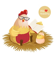 Cartoon hen and chick reading a book vector