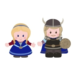Vikings man and woman in in ancient scandinavian vector