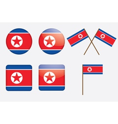 Badges with flag of north korea vector