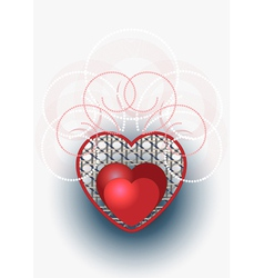 Heart with curves and beads vector