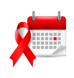 AIDS awareness ribbon and calendar vector image vector image