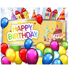 Birthday background with colorful balloon vector image vector image