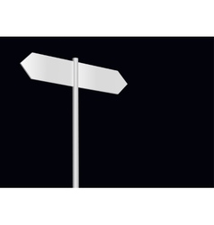 Blank signpost on a black vector