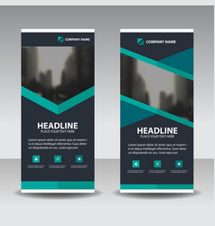 Blue polygon business roll up banner flat design vector
