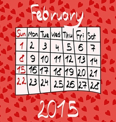 Calendar for February 2015 Cartoon Style Hearts vector image