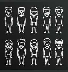 chalkboard sketch people sing boy family vect vector image