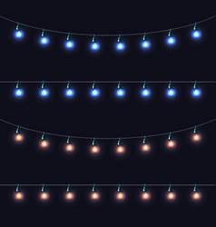 Christmas glowing lights garlands set vector