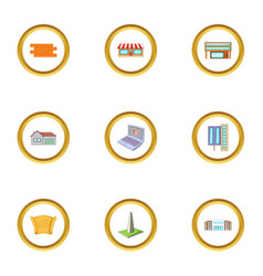 construction work icons set cartoon style vector image vector image