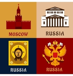 Cultural historic and religion russial flat icons vector image