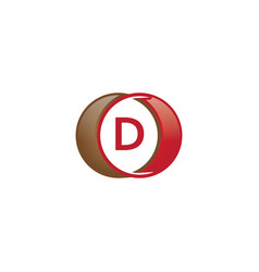 d letter circle logo vector image
