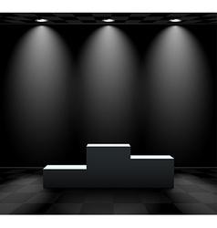 Dark room with lightened pedestal vector