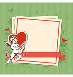 Decorative background with Cupid vector image