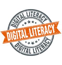 Digital literacy round grunge ribbon stamp vector
