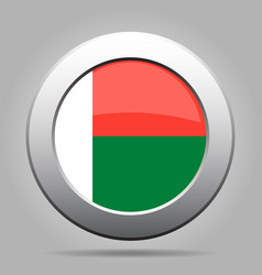 Flag of madagascar shiny metal gray round button vector