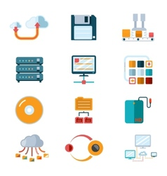 Flat data icons vector