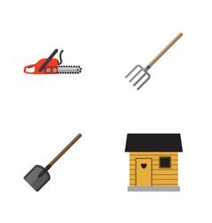 Flat icon farm set of hay fork shovel hacksaw vector